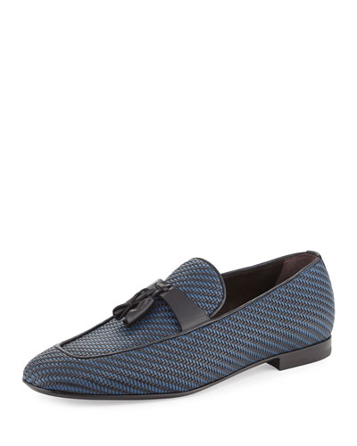 Lido Bicolor Woven Leather Tassel Loafer, Navy