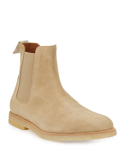 Calf Suede Chelsea Boot, Tan