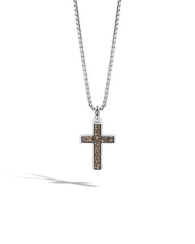 Men's Lava Smoky Quartz Cross Pendant Necklace
