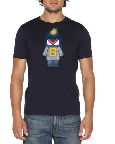 Fendirumi Bug-Kun T-Shirt with Fur & Leather Trim, Blue