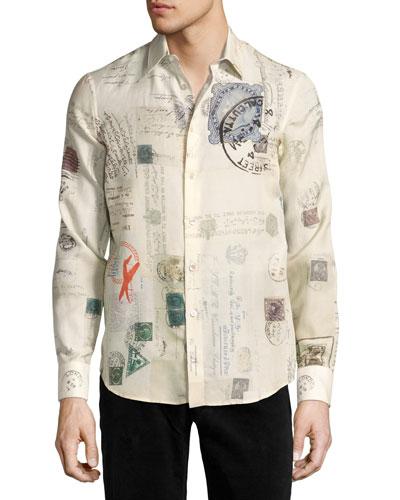 Postcard-Print Cotton-Silk Shirt, Ivory