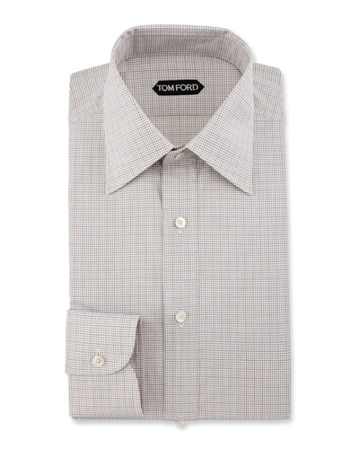 Slim-Fit Grid Check Dress Shirt, Brown