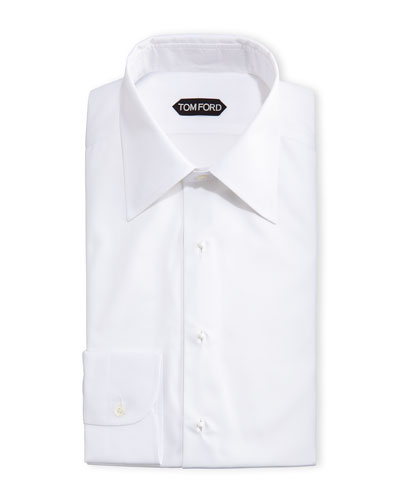 Slim-Fit Poplin Plastron Evening Shirt, White