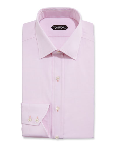 Slim-Fit Small Classic-Collar Dress Shirt, Pink
