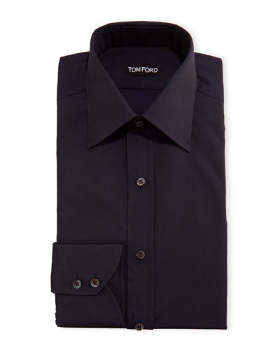 Slim-Fit Classic-Collar Dress Shirt, Navy