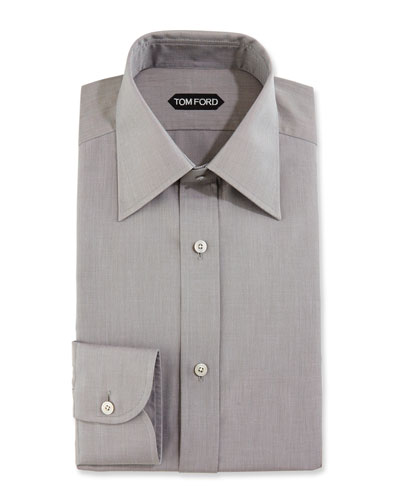 Slim-Fit Solid Dress Shirt, Gray