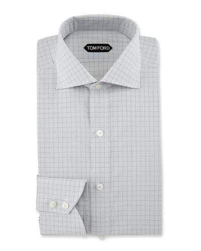 Slim-Fit Grid Check Dress Shirt, Black