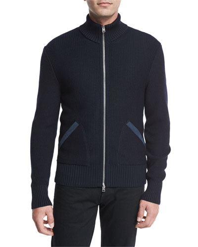 Suede-Trim Zip-Front Merino Wool Cardigan, Navy