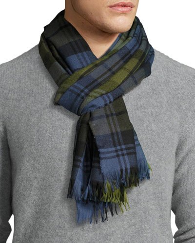 Plaid Cashmere Scarf, Deak Blue