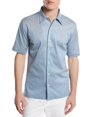Piqué Knit Button-Front Shirt, Light Blue