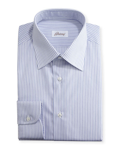 Striped Dress Shirt, Navy/White