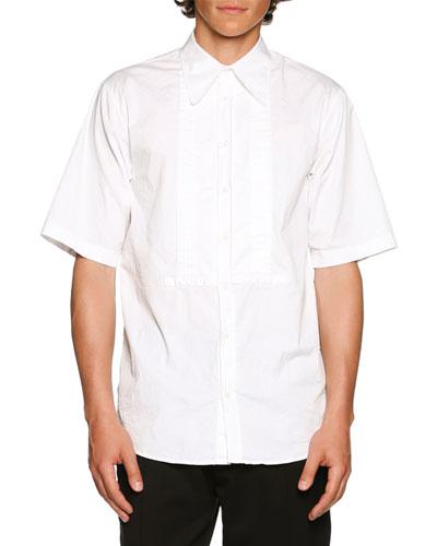 Tuxedo-Style Short-Sleeve Shirt, White
