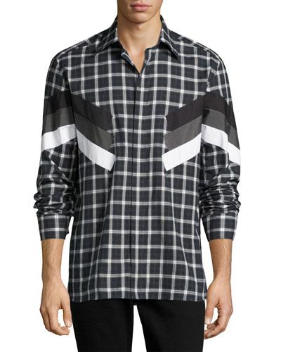 Retro Tartan Modernist-Stripe Shirt, Gray