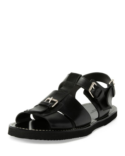 Leather Buckle Sandal, Black