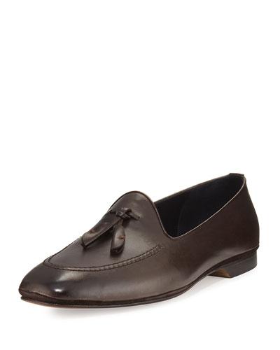 Panama Leather Tassel Loafer, Dark Brown
