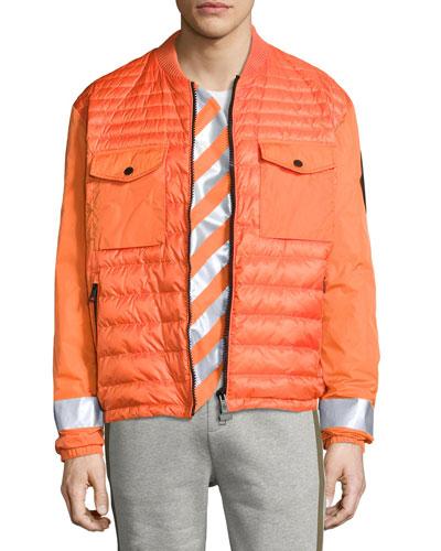 Arrow-Print Down Bomber Jacket, Orange