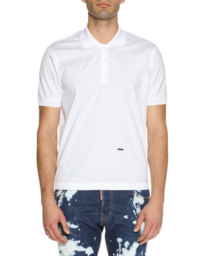 Stretch-Cotton Polo Shirt, White