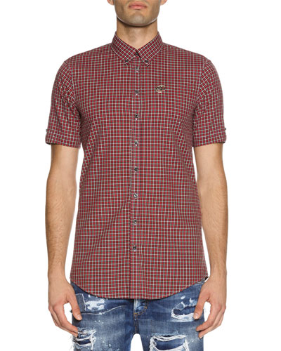Check Short-Sleeve Woven Shirt, Red