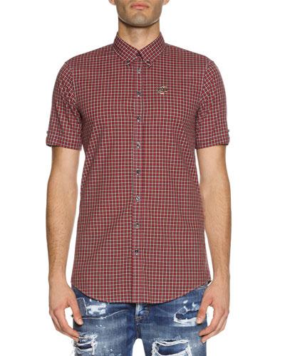 Check Short-Sleeve Woven Shirt, Red
