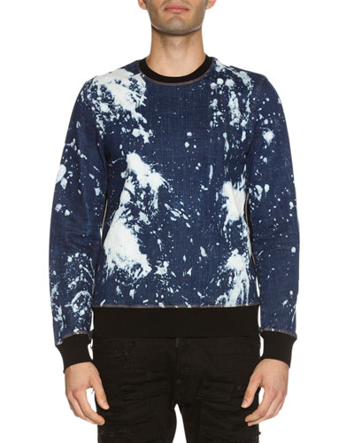 Side-Zip Bleached Denim Sweatshirt