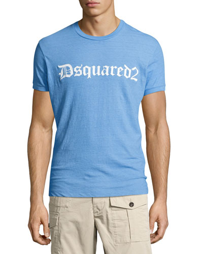 Gothic Logo-Print T-Shirt, Light Blue