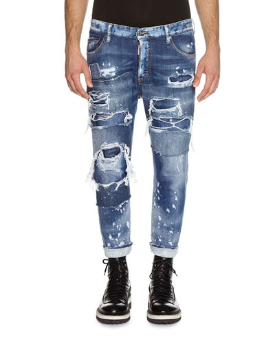 Glam Head Super Ripped Wash Jeans, Blue