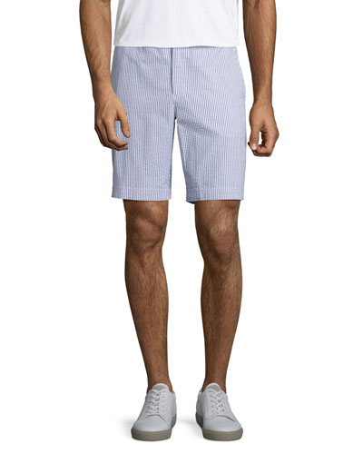 Dane 2 Striped Seersucker Shorts, Navy/White
