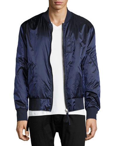 Reversible Satin Bomber Jacket, Blue/Gray