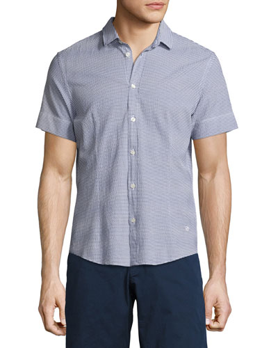 Morton Striped Seersucker Short-Sleeve Sport Shirt