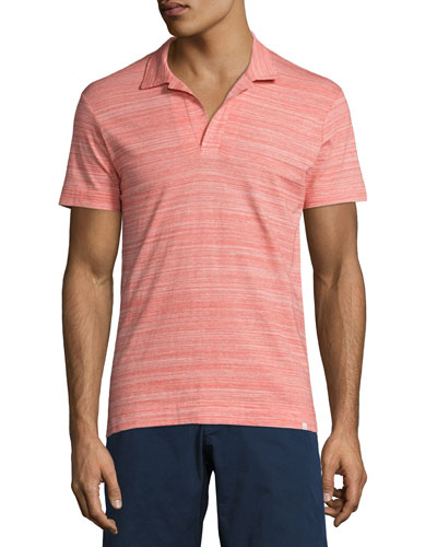 Felix Fine-Stripe Space-Dye Polo Shirt, Red