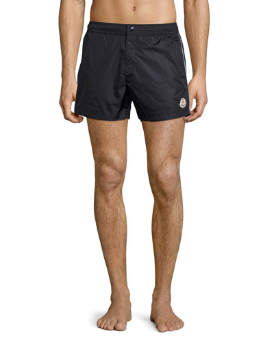 Swim Trunks with Contrast Piping, Navy