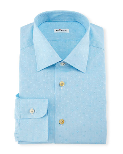 Diamond Dobby Dress Shirt, Aqua