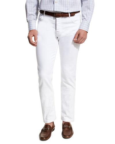 Twill Five-Pocket Pants, White