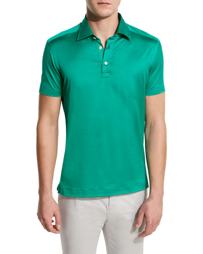 Solid Sateen Polo Shirt, Green