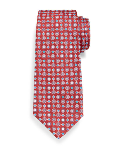 Neat Woven Flower Silk Tie, Red