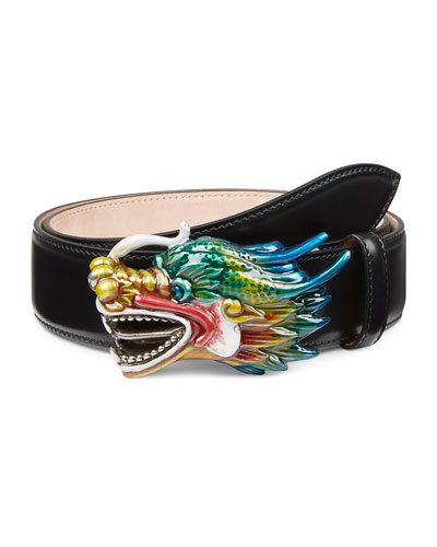 Leather Belt with Dragon Buckle