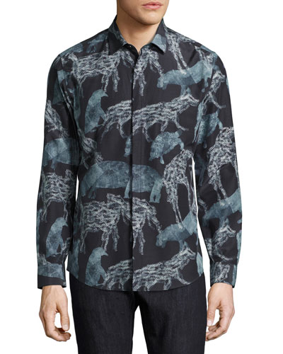 Safari Animals Silk-Cotton Sport Shirt, Black