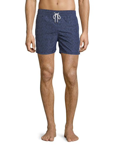 Gancini-Print Swim Trunks, Navy
