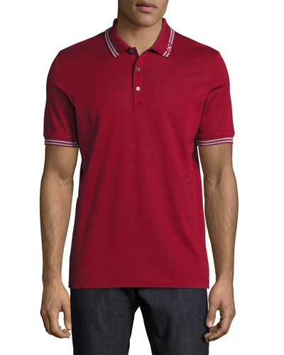 Men's Cotton Piqué 3-Button Polo Shirt with Gancini Detail on Collar, Ferragamo Red