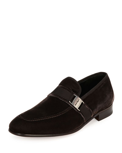 Velvet Formal Loafer, Gray