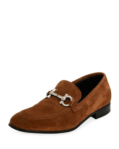 Suede Gancini Loafer, Brown