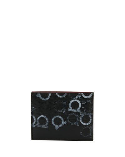 Capsule Gancio-Stamped Leather Bi-Fold Wallet, Black/Gray