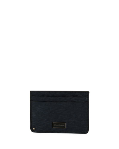 Revival Leather Card Case with Flip-Out ID Window, Blue