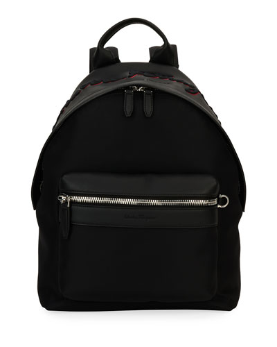 Ferragamo-Embroidered Backpack, Black/Red