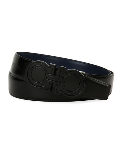 Futuristic Reversible Leather Gancini Belt, Black/Blue