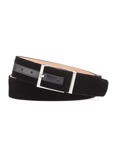 Square-Buckle Formal Velvet Belt