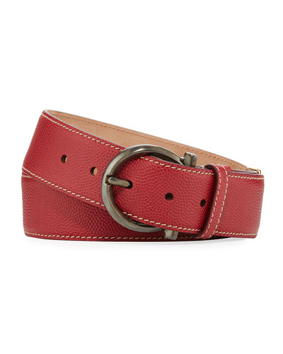 Parigi Leather Gancio-Buckle Belt, Red