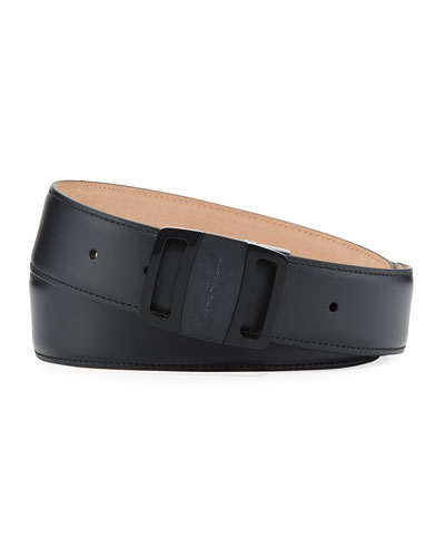 Tonal Leather Buckle Belt, Black