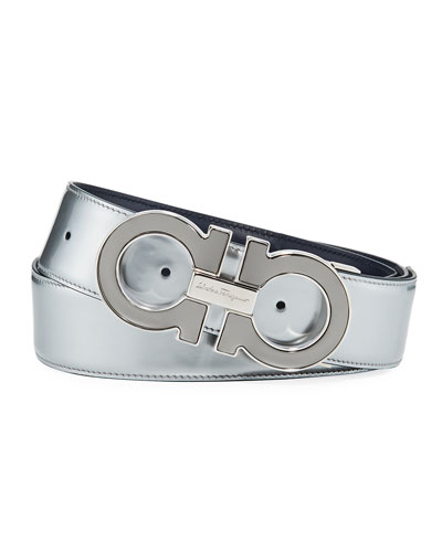 Reversible Metallic Leather Gancini-Buckle Belt, Silver