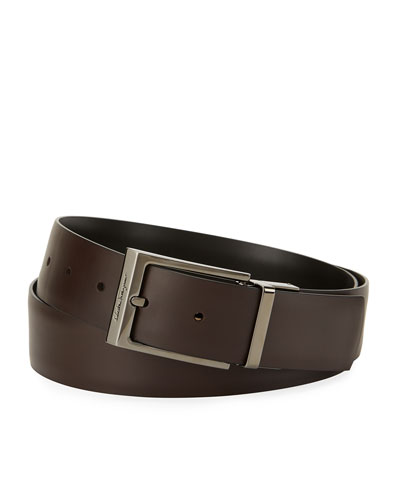 Paloma Reversible Leather Belt, Brown/Black